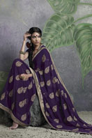 Stylish purple embroidery georgette saree Gifts toIndia, sarees to India same day delivery