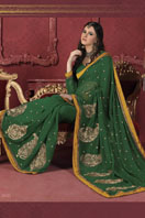 Green Georgette Saree Gifts toRMV Extension, sarees to RMV Extension same day delivery
