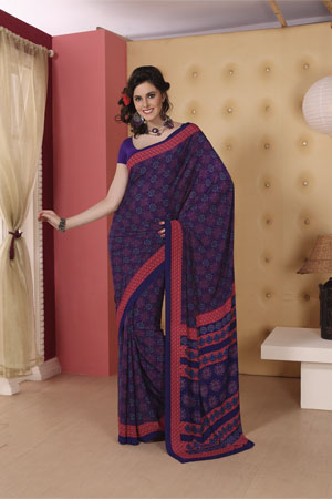 Printed purple georgette saree