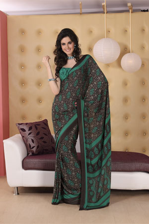 Grey and green printed georgette saree.