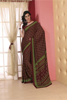 Printed maroon georgette saree Gifts toLalbagh, sarees to Lalbagh same day delivery