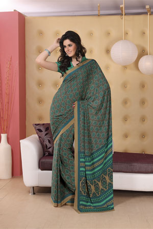 Elegant green printed georgette saree