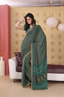 Elegant green printed georgette saree  Gifts toBTM Layout, sarees to BTM Layout same day delivery