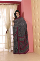 Cachy navy blue printed georgette saree Gifts toIndia, sarees to India same day delivery