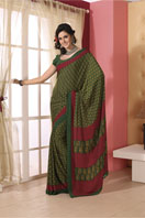 Trendy green printed georgette saree Gifts toHAL, sarees to HAL same day delivery