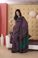 Fancy purple striped georgette saree, Gifts toLalbagh, sarees to Lalbagh same day delivery
