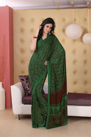 Bold bottle green printed georgette saree
