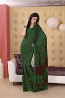 Bold bottle green printed georgette saree Gifts toIndia, sarees to India same day delivery