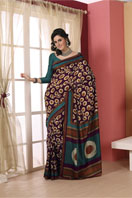Purple printed tussar with chakra design Gifts toHAL, sarees to HAL same day delivery