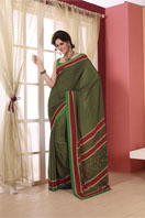 Printed georgette saree in green and red border.